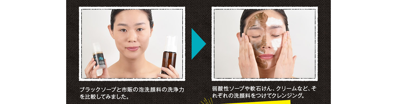 弱酸性ソープや軟石けん、クリームなど、それぞれの洗顔料をつけてクレンジング。